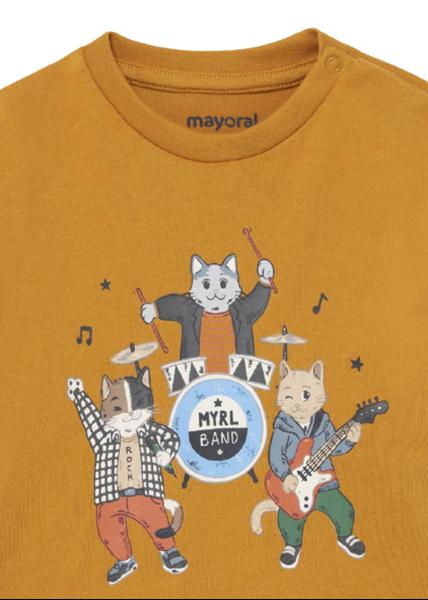 Mayoral Bebe Μπλούζα Για Νεογέννητο Αγόρι Drums, Ώχρα