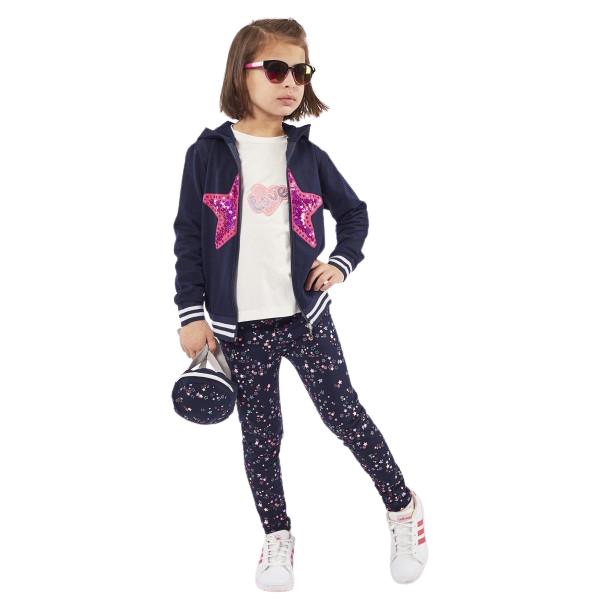 Εβίτα Fashion Σετ Παιδικό 3 Τμχ Κολάν, Μπλούζα Και Ζακέτα Αστέρι, Μπλέ