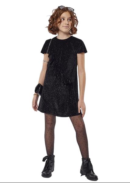 Εβίτα Fashion Φόρεμα Βελούδο Με Τσαντάκι, Μαύρο
