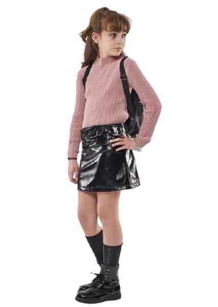 Εβίτα Fashion Φούστα Βινίλιο Με Ζώνη, Μαύρη