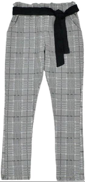 Εβίτα Fashion Παντελόνι Καρώ Με Ζώνη, Γκρί