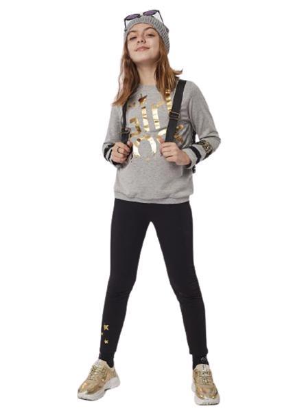Εβίτα Fashion Σετ Κολάν Φούτερ Με Μπλούζα Girl Boss, Γκρί