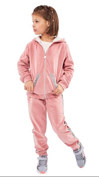 Εβίτα Fashion Σετ Παιδικό 3 Τμχ Μπλούζα, Παντελόνι Φόρμας Και Ζακέτα Βελουτέ, Ροζ
