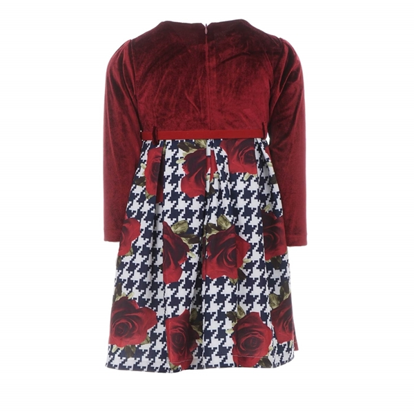 Εβίτα Fashion Παιδικό Φόρεμα Βελουτέ Με Λουλούδια, Κόκκινο