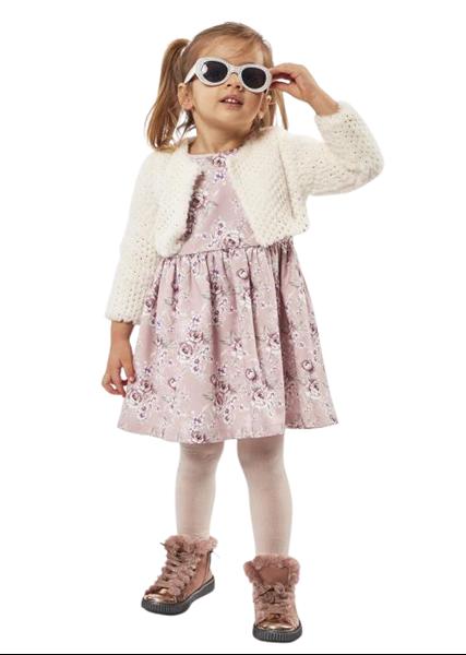 Εβίτα Fashion Παιδικό Σετ Φόρεμα Με Μπολερό Γούνινο, Εκρού