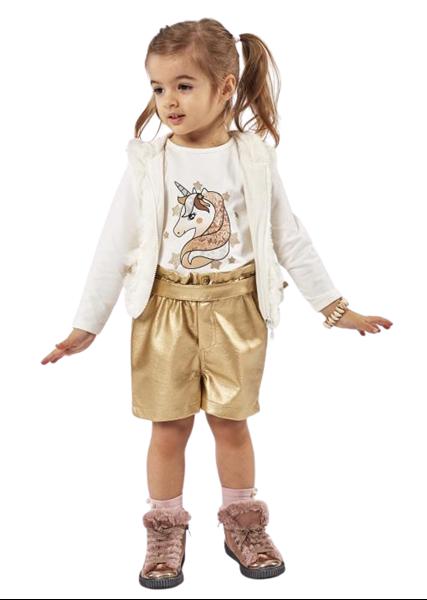 Εβίτα Fashion Παιδικό Σετ 3τμχ Γιλέκο, Μπλούζα Και Σόρτς, Χρυσό