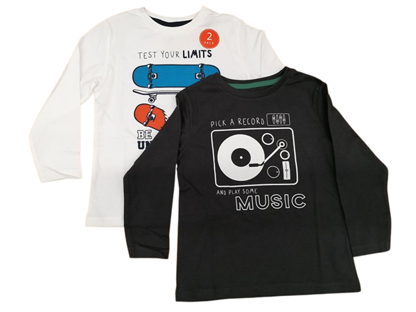 Zippy Σετ 2 Μπλούζες Μακρυμάνικες Για Αγόρι Skate, Εκρού Ανθρακί