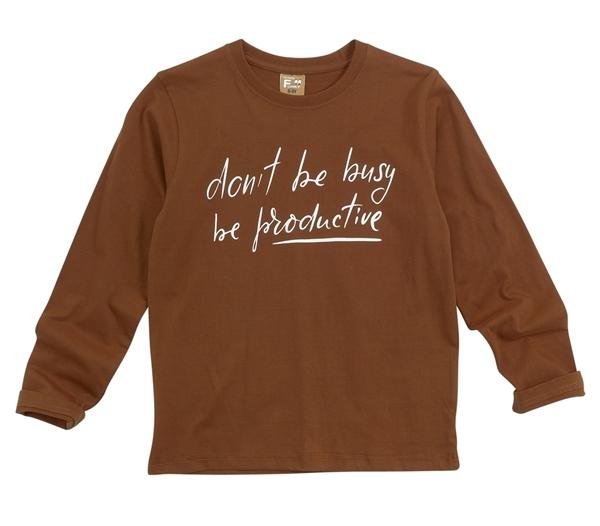 Funky Μακρυμάνικη Μπλούζα Για Αγόρι Busy, Καφέ