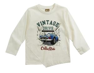 Funky Παιδική Μακρυμάνικη Μπλούζα Για Αγόρι Vintage, Εκρού