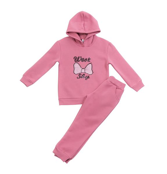 Trax Παιδικό Σετ Φόρμας Για Κορίτσι Φιόγκος ,Ροζ