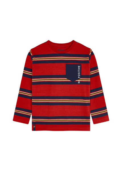 Mayoral Παιδική Μπλούζα Με Ρίγες Για Αγόρι, Κόκκινο