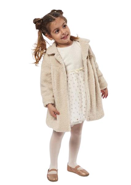 Εβίτα Fashion Παιδικό Σετ Παλτό Με Φόρεμα Για Κορίτσια, Κρεμ