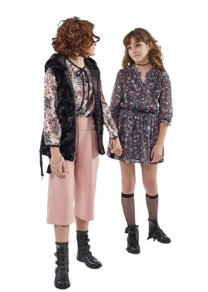 Εβίτα Fashion Γούνινο Γιλέκο Με Κουκούλα Και Ζώνη, Μαύρο