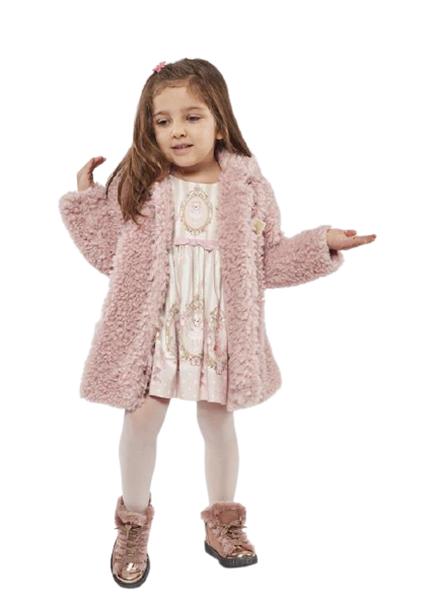 Εβίτα Fashion Bebe Σετ Παλτό Με Φόρεμα Για Κορίτσι Vintage, Ροζ