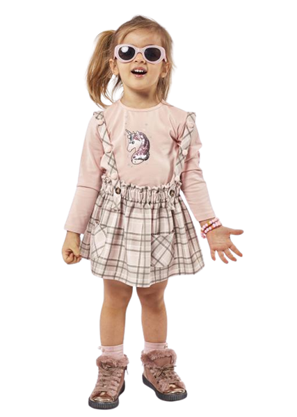 Εβίτα Fashion Παιδικό Σετ Φούστα Σαλοπέτα Και Μπλούζα, Καρώ