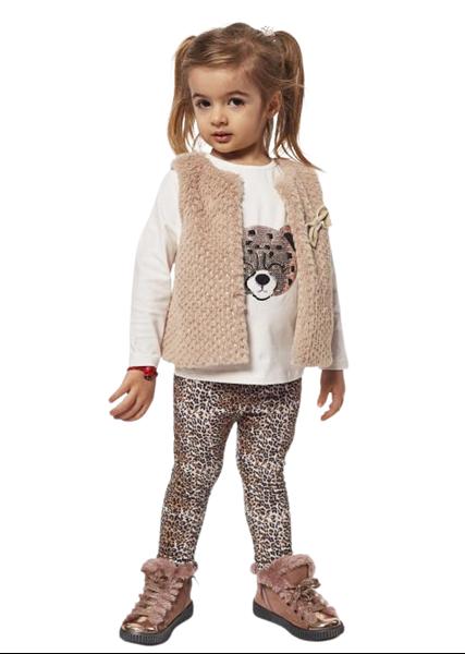 Εβίτα Fashion Παιδικό Σετ 3 Τμχ Γιλέκο Μπλούζα Και Κολάν Animal, Μπέζ