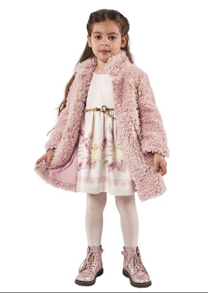 Εβίτα Fashion Παιδικό Σετ Παλτό Με Φόρεμα Για Κορίτσια, Ροζ