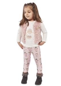 Εβίτα Fashion Bebe Σετ 3 Τμχ Κολάν Με Γιλέκο Κουκλίτσα,Ροζ