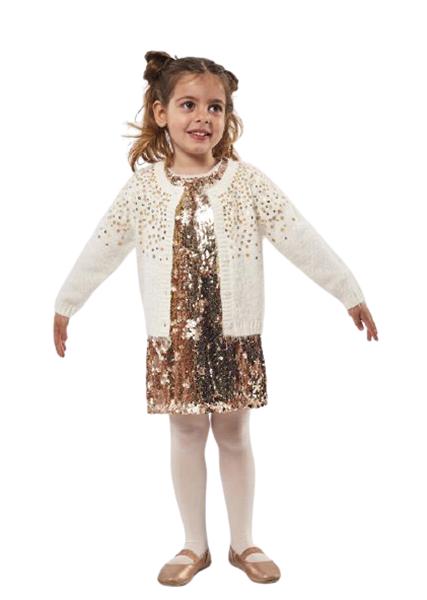 Εβίτα Fashion Παιδική Ζακέτα Με Κουμπιά Παγιέτες, Εκρού