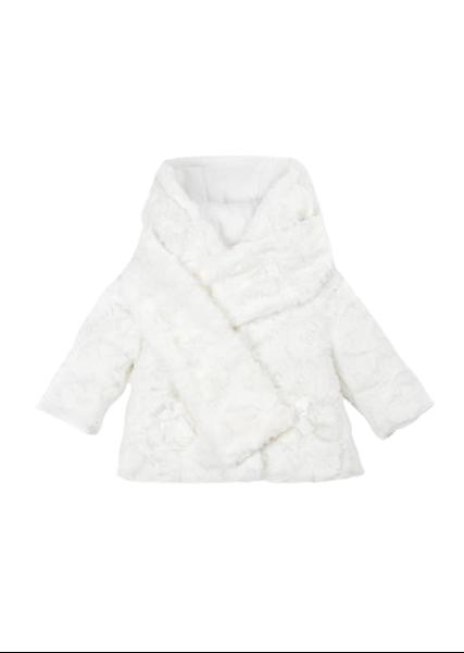 Εβίτα Fashion Bebe Γούνινο Παλτό Με Κασκόλ, Λευκό