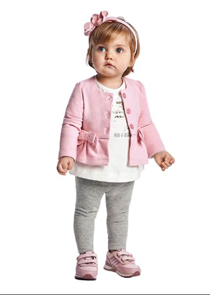 Mayoral Bebe Σετ Ζακέτα, Μπλούζα Και Κολάν Για Νεογέννητο Κορίτσι Γατούλες, Ροζ