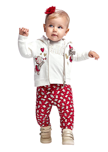 Mayoral Bebe Σετ Με 2 Παντελόνια Και Ζακέτα Για Νεογέννητο Κορίτσι, Κόκκινο