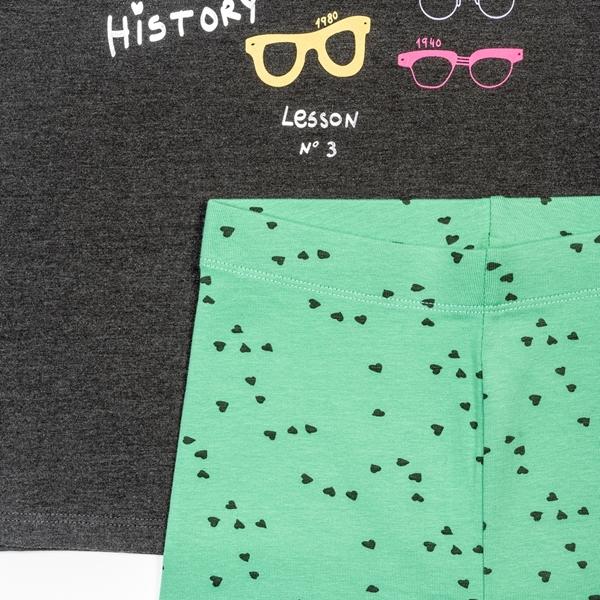 Zippy Σετ Κολάν Με Μπλούζα Για Κορίτσι Glasses, Γκρί Μέντα