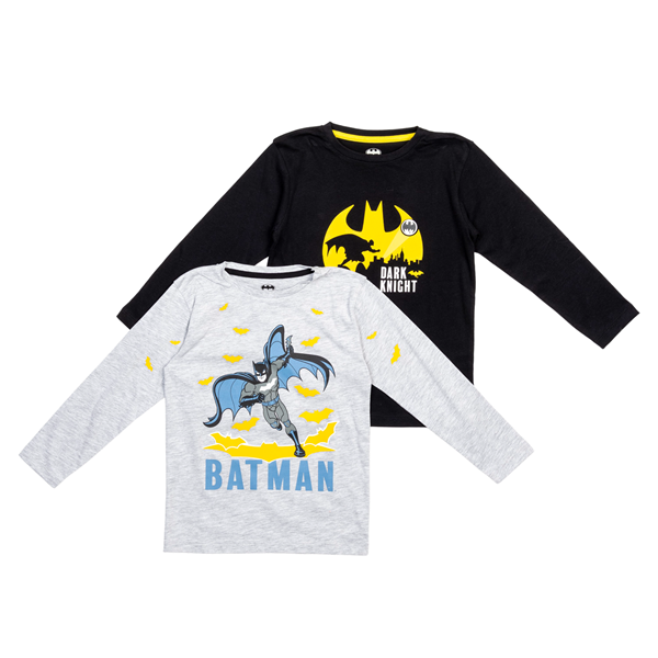 Zippy Σετ 2 Μπλούζες Μακρυμάνικες Για Αγόρι Batman, Μαύρο Γκρί