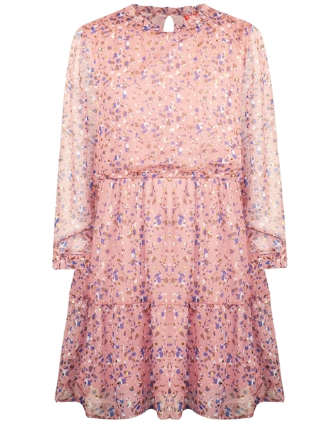 Energiers Φόρεμα Εμπριμέ Με Βολάν Και Σιφόν Ύφασμα, Ροζ