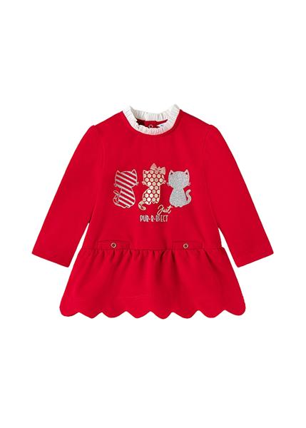 Mayoral Bebe Φόρεμα Φούτερ Για Νεογέννητο Κορίτσι Γατούλες, Κόκκινο