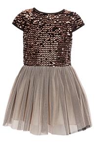 M&B Fashion Παιδικό Φόρεμα Με Παγιέτες Και Τούλι, Καφέ