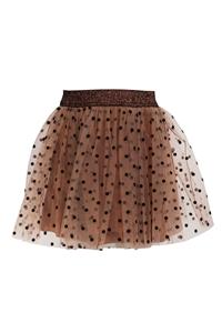 M&B Fashion Παιδική Φούστα Με Τούλι Πουά, Καφέ