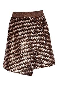 M&B Fashion Λοξή Φούστα Με Παγιέτες, Καφέ