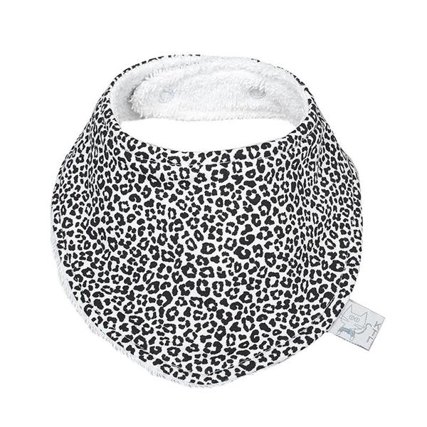 Καρφιτσωμένος Γάτος - Βρεφική Σαλιάρα-Μπαντάνα - Leopard White