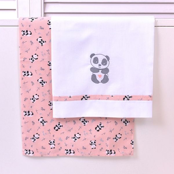 Baby Oliver Σετ Σεντόνια Κούνιας 3 τεμ. Pink Panda
