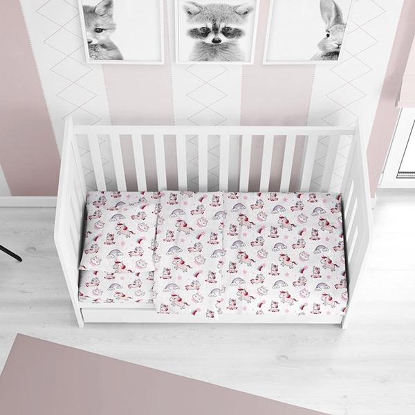 Dim Collection - Σετ σεντόνια κούνιας 3τμχ - Unicorn Pink 120*160cm
