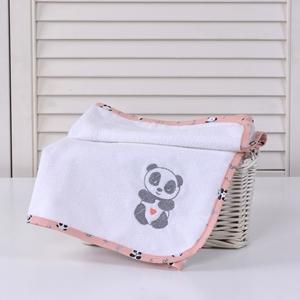 Baby Oliver Σελτεδάκι με Κέντημα Panda Pink 50x70cm