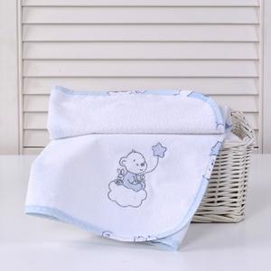 Baby Oliver Σελτεδάκι με Κέντημα Bear Blue 50x70cm