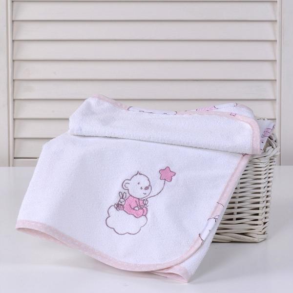 Baby Oliver Σελτεδάκι με Κέντημα Bear Pink 50x70cm