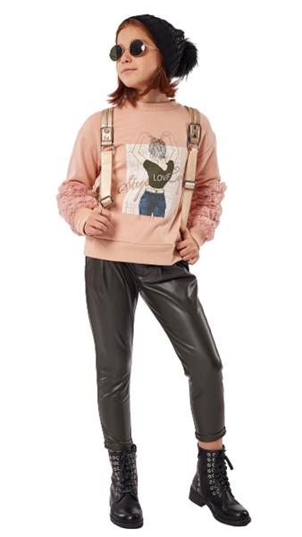 Εβίτα Fashion Σετ Παντελόνι Κολάν Δερμάτινο Και Φούτερ, Ροζ