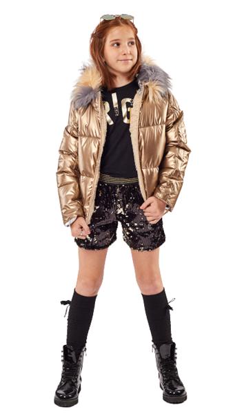 Εβίτα Fashion Μπουφάν Γυαλιστερό , Χρυσό