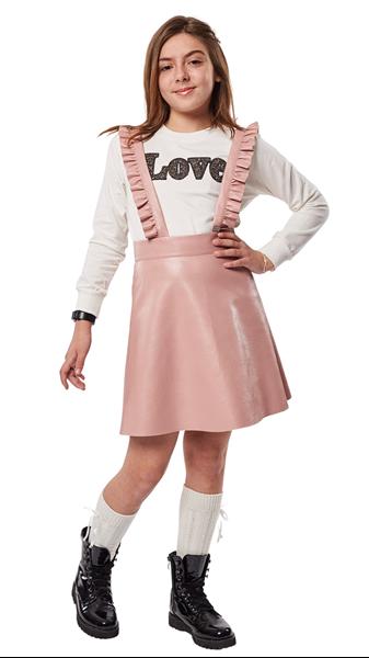Εβίτα Fashion Σετ Φούστα Σαλοπέτα Δερματίνη Και Μπλούζα, Ροζ