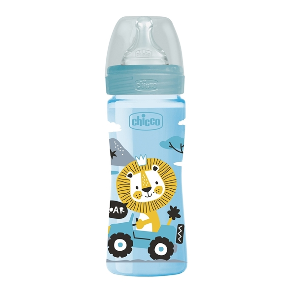 Chicco Μπιμπερό Πλαστικό Well Being Σιέλ Λιοντάρι Θ.Σ. 2m+ 250ml