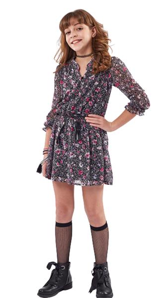 Εβίτα Fashion Φόρεμα Φλοράλ, Μαύρο