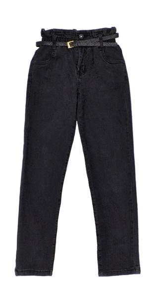 Εβίτα Fashion Παντελόνι Τζιν Ελαστικό Με Ζώνη, Μαύρο