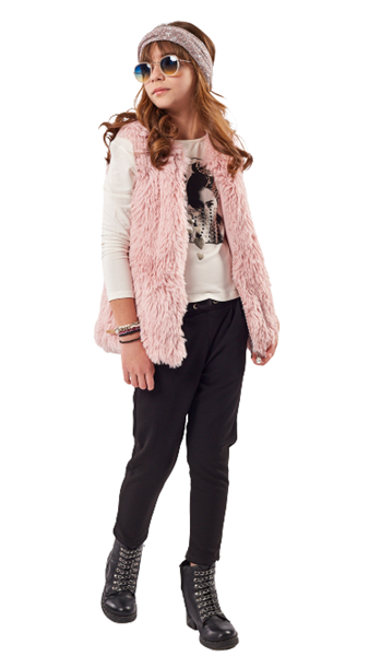 Εβίτα Fashion Σετ 3 Τμχ Γιλέκο Γουνάκι, Μπλούζα Και Παντελόνι, Ροζ