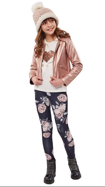 Εβίτα Fashion Σετ 3 Τμχ Jacket ,Μπλούζα Και Κολάν, Μεταλλικό Ροζ