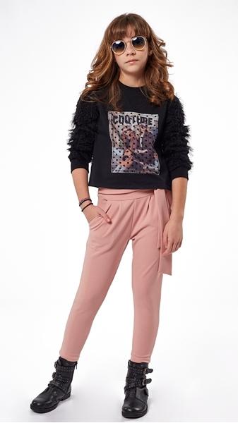 Εβίτα Fashion Σετ Μπλούζα Μαύρη Και Παντελόνι, Ροζ