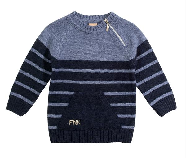 Funky Παιδική Πλεκτή Μπλούζα Με Τσέπη Για Αγόρι, Μπλέ