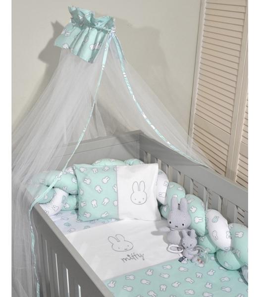 Miffy Σετ προίκας μωρού 7τμχ με κουνουπιέρα για ίσιο σίδερο, Μέντα